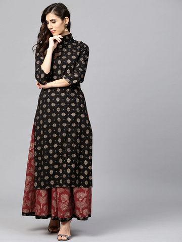 Women Black & Maroon Printed Kurta with Skirt