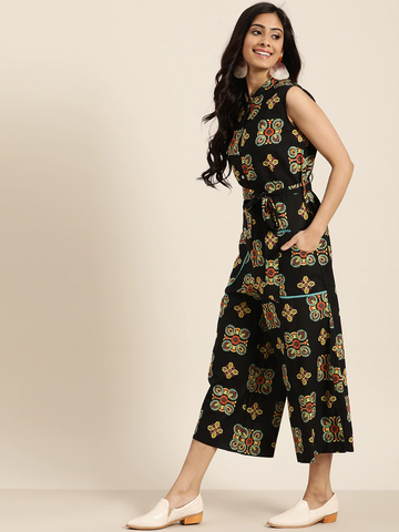 Women Printed Basic Jumpsuit with Belt