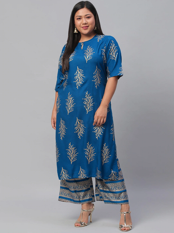 Women Printed Plus Size Kurta with Palazzos