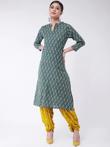 Women Green Printed Kurta with Dhoti Pants