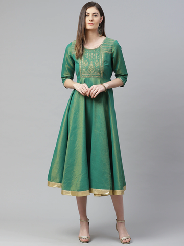 Women Green Embroidered A-Line Dress