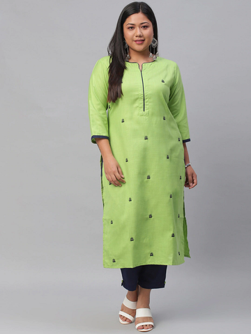 Women Plus Size Printed Kurta with Trousers