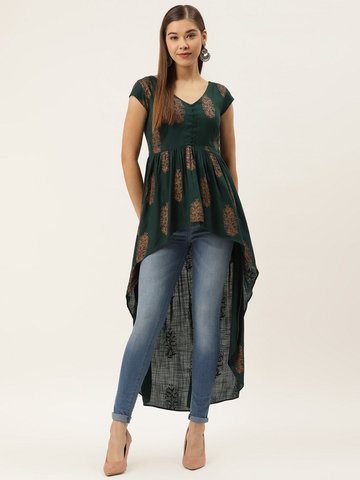 Women Printed High-Low Tunic Top