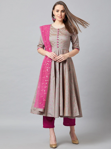 Women Solid Kurta with Trousers & Dupatta