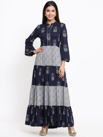 Women Navy Blue Printed Maxi Dress