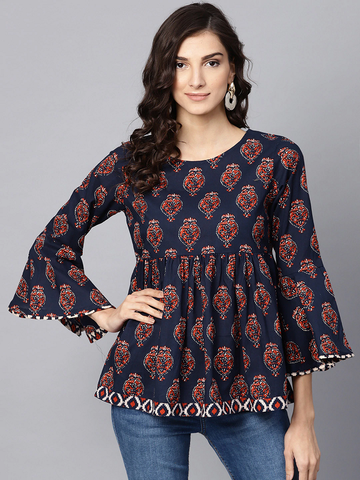 Women Navy Blue Printed Empire Top