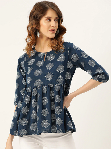 Women Lotus Printed A-Line Top