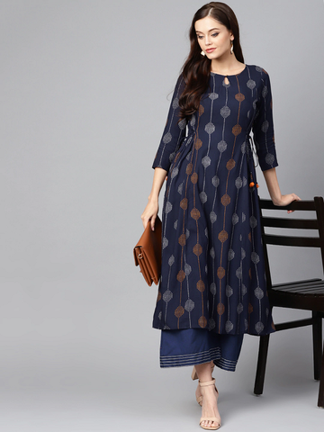 Women Navy Blue Printed A-Line Kurta