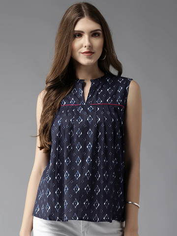 Women Navy Printed A-Line Top