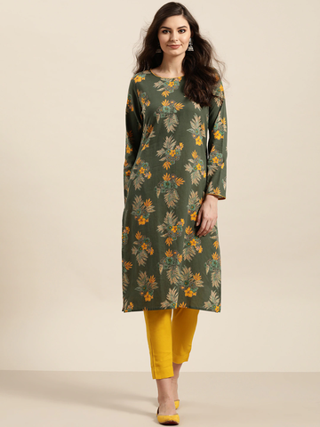 Women Olive Green Cotton Floral Printed Kurta