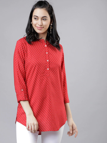 Women Red Printed Tunic