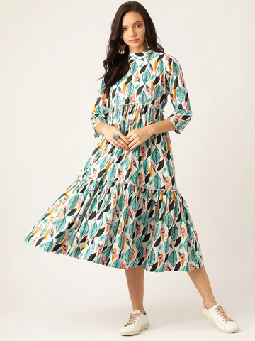 Women White Leaf Printed Tiered A-Line Dress