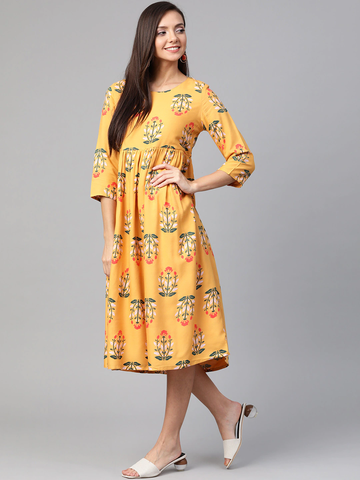 Women Yellow & Green Floral Printed Dress