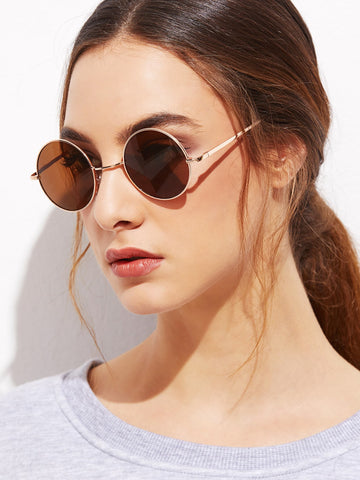 Gold Frame Brown Round Lens Sunglasses | Amy's Cart Singapore