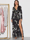 Floral Print Split Thigh Belted Maxi Dress | Amy's Cart Singapore