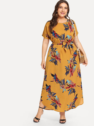 Plus Floral Print Dress | Amy's Cart Singapore