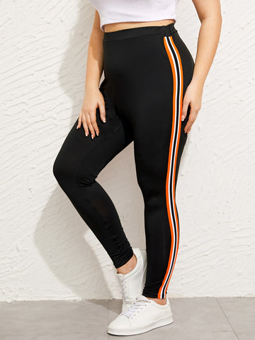 Plus Tuxedo Stripe Side Leggings | Amy's Cart Singapore