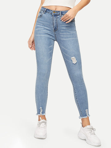 Raw Hem Ripped Jeggings | Amy's Cart Singapore