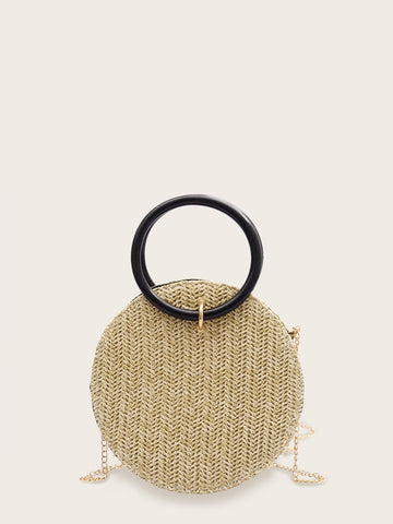 Woven Round Shaped Chain Bag With Ring Handle | Amy's Cart Singapore