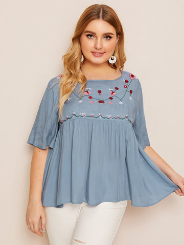 Plus Embroidery Front Smock Top | Amy's Cart Singapore