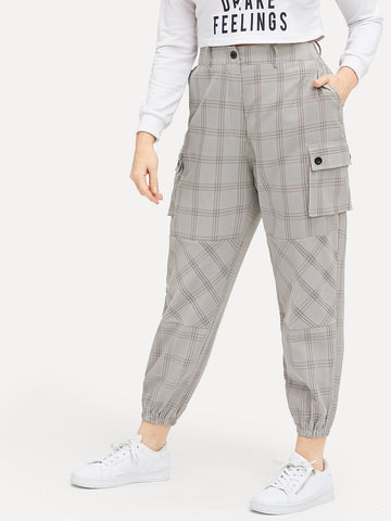 Plus Plaid Pocket Detail Pants | Amy's Cart Singapore