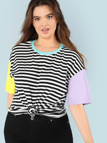 Plus Cut And Sew Striped Tee | Amy's Cart Singapore