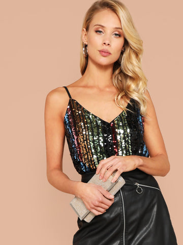 Sequin Patched Sheer Back Cami Top | Amy's Cart Singapore
