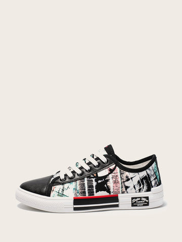 Men Random Pattern Lace-up Low Top Sneakers | Amy's Cart Singapore