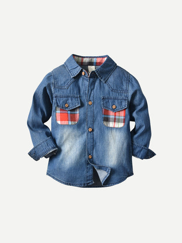 Toddler Boys Plaid Pocket Denim Shirt | Amy's Cart Singapore