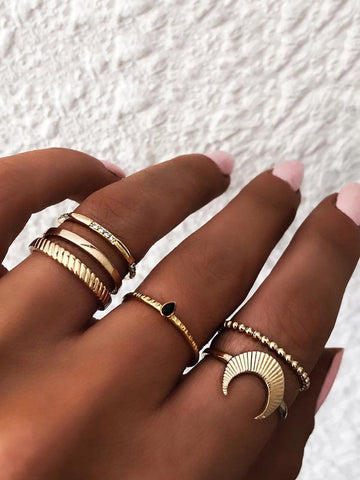Moon Detail Ring Set 6pcs | Amy's Cart Singapore