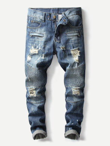 Men Ripped Biker Jeans | Amy's Cart Singapore
