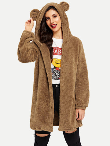 Open Front Hooded Teddy Coat | Amy's Cart Singapore