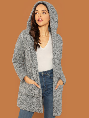 Pocket Patched Marled Teddy Coat | Amy's Cart Singapore