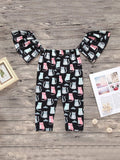 Toddler Girls Cat Print Ruffle Trim Jumpsuit | Amy's Cart Singapore