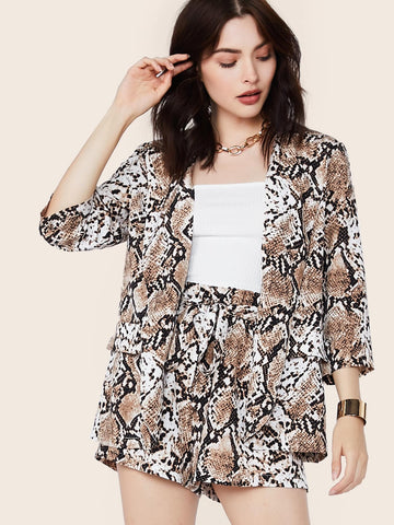 Snakeskin Print Blazer & Belted Shorts Set | Amy's Cart Singapore