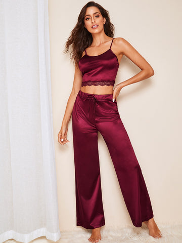 Lace Trim Cami Top & Pants PJ Set | Amy's Cart Singapore