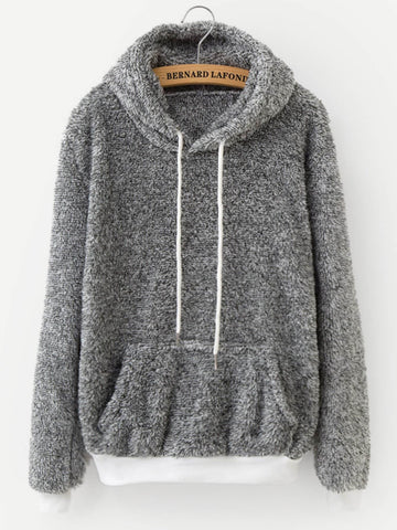 Solid Drawstring Teddy Hoodie | Amy's Cart Singapore