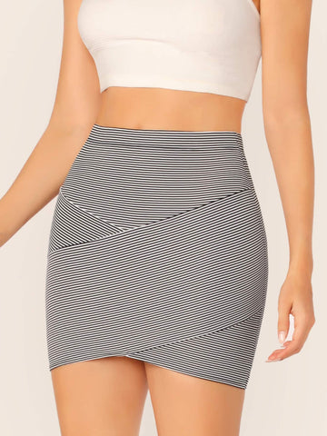 Cross Wrap Front Striped Bodycon Skirt | Amy's Cart Singapore