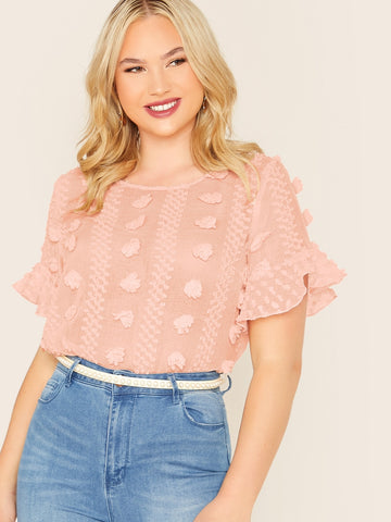 Plus Appliques Semi Sheer Chiffon Top | Amy's Cart Singapore