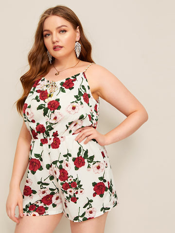 Plus Floral Print Cami Romper | Amy's Cart Singapore