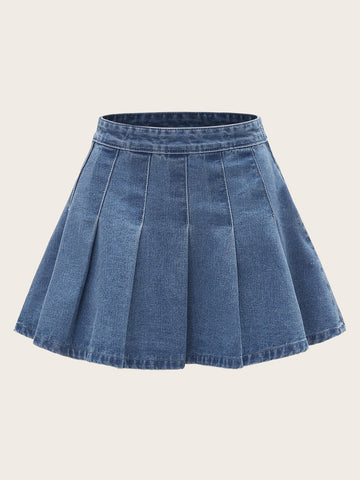 Plus Pleated Flared Denim Skirt | Amy's Cart Singapore