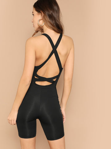Criss Cross Backless Solid Tank Romper | Amy's Cart Singapore