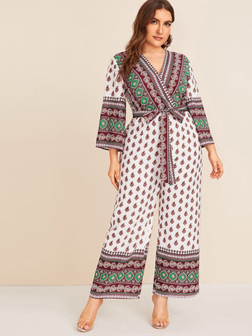 Plus Surplice Neck Tribal Print Belted Jumpsuit | Amy's Cart Singapore