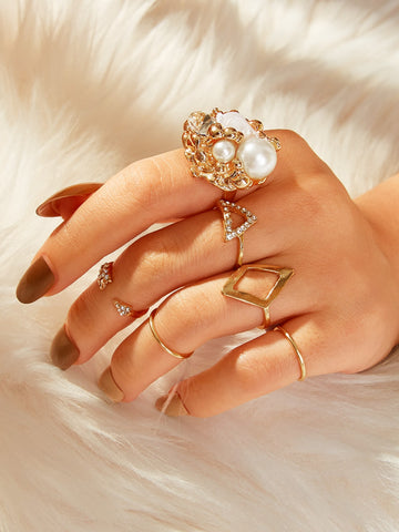 Rhinestone & Pearl Decor Ring 6pcs | Amy's Cart Singapore