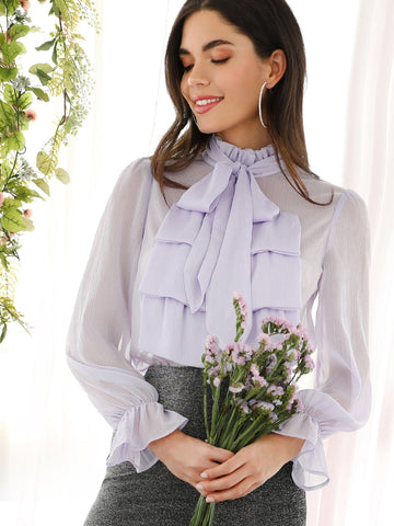 Jabot Collar Semi Sheer Blouse | Amy's Cart Singapore
