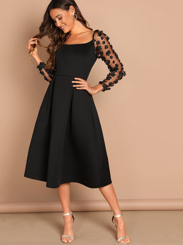 Applique & Mesh Sleeve Flared Dress | Amy's Cart Singapore