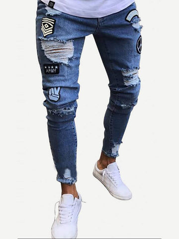 Men Ripped Tapered Jeans | Amy's Cart Singapore