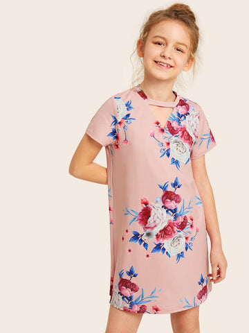 Girls Notch Front Floral Tunic Dress | Amy's Cart Singapore
