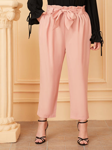 Plus Tassel Tie Embroidered Wide Leg Pants | Amy's Cart Singapore