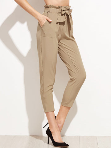 Tie Waist Shirred Peg Pants | Amy's Cart Singapore